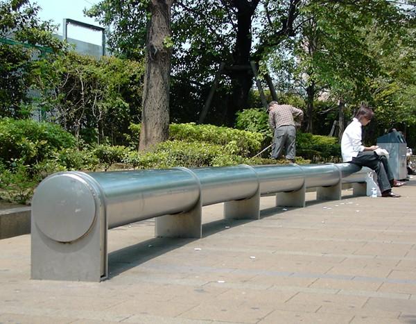 stainless steel bench in Tokyo's Ikebukuro West Park